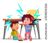two frightened kids sitting... | Shutterstock .eps vector #1304834266