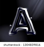 chrome or lisuid alphabet.... | Shutterstock .eps vector #1304839816