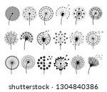 dandelion silhouettes. herbal... | Shutterstock .eps vector #1304840386