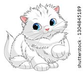 Fluffy White Kitten. Cartoon...