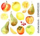 fruits. apple  pear  orange ... | Shutterstock . vector #1304853220
