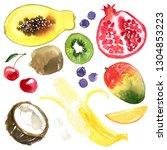 fruits. papaya  kiwi ... | Shutterstock . vector #1304853223