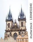 tyn church in prague. church of ... | Shutterstock . vector #1304853340