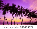 Tropical Sunset Over Sea With...