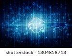 2d digital abstract technology... | Shutterstock . vector #1304858713