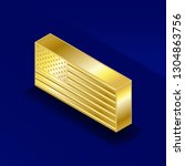 isometric gold bar. golden... | Shutterstock .eps vector #1304863756