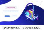 listening to audiobooks  ... | Shutterstock .eps vector #1304865223