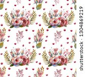 seamless pattern. set of flower ... | Shutterstock . vector #1304869219