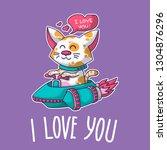 vector postcard about cat in...   Shutterstock .eps vector #1304876296