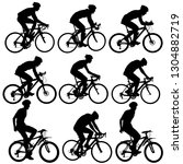 set silhouette of a cyclist... | Shutterstock . vector #1304882719