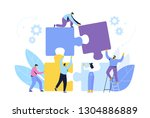 people connecting puzzle... | Shutterstock .eps vector #1304886889