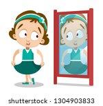 cartoon pretty brunette girl...   Shutterstock .eps vector #1304903833