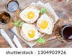 breakfast. toast with the... | Shutterstock . vector #1304903926