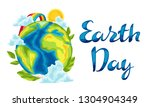 happy earth day card.... | Shutterstock .eps vector #1304904349