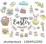 easter set of icons and objects.... | Shutterstock .eps vector #1304912350