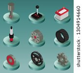 car part color isometric icons. ... | Shutterstock . vector #1304914660