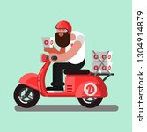 delivery boy on scooter with... | Shutterstock . vector #1304914879