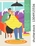 vector illustration of a happy... | Shutterstock .eps vector #1304915536