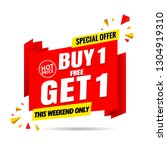 buy 1 get 1 free sale banner...   Shutterstock .eps vector #1304919310