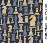 seamless pattern with chess...   Shutterstock .eps vector #1304921206