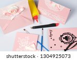 making greeting cards from... | Shutterstock . vector #1304925073