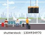 airport interior waiting hall... | Shutterstock .eps vector #1304934970