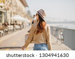 portrait from back of stylish... | Shutterstock . vector #1304941630
