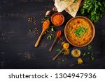 indian food dal. traditional... | Shutterstock . vector #1304947936
