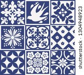blue portuguese tiles pattern   ... | Shutterstock .eps vector #1304948923