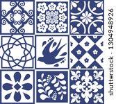blue portuguese tiles pattern   ... | Shutterstock .eps vector #1304948926