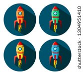 space shuttle icon in circle... | Shutterstock .eps vector #1304951410