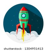 space shuttle icon in circle... | Shutterstock .eps vector #1304951413