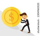 business man pushing a money... | Shutterstock .eps vector #1304960320