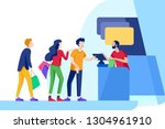 angry people queue in... | Shutterstock .eps vector #1304961910
