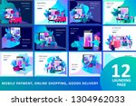 landing page template of online ... | Shutterstock .eps vector #1304962033
