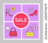 clothing store sale social... | Shutterstock .eps vector #1304970679