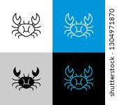 crab thin linear simple icon.... | Shutterstock .eps vector #1304971870