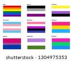 lgbtq pride flags   vector | Shutterstock .eps vector #1304975353