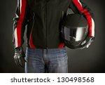 Biker With Helmet In His Hands...
