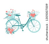 hand drawn bicycle  romantic... | Shutterstock .eps vector #1305007009