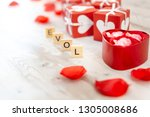 valentine's day gift box with... | Shutterstock . vector #1305008686