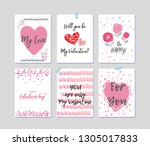 set of valentine's day greeting ... | Shutterstock .eps vector #1305017833