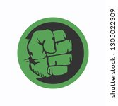 logo of compressed green fist.... | Shutterstock .eps vector #1305022309