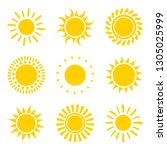 set of yellow sun icon symbols...