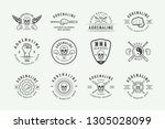 set of vintage mixed martial... | Shutterstock .eps vector #1305028099