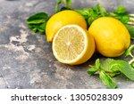 fresh green mint and lemon on... | Shutterstock . vector #1305028309