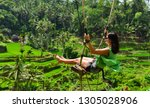 bali swinging over terrace rice ... | Shutterstock . vector #1305028906