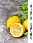 fresh green mint and lemon on... | Shutterstock . vector #1305029683