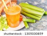 fresh green celery  juice in... | Shutterstock . vector #1305030859