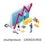 business intelligence and data... | Shutterstock .eps vector #1305031903